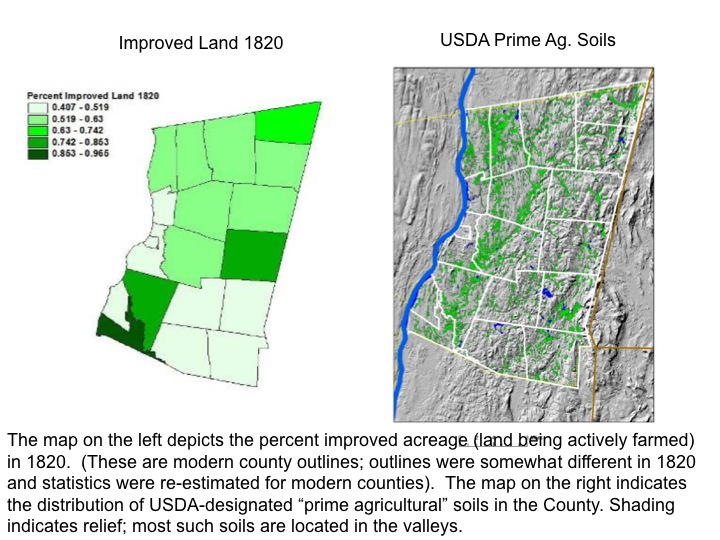 Percent Of Improved Acres In Columbia County By Town In 1820 Alongside Usda Prime Agricultural Soil Map Of County Maps
