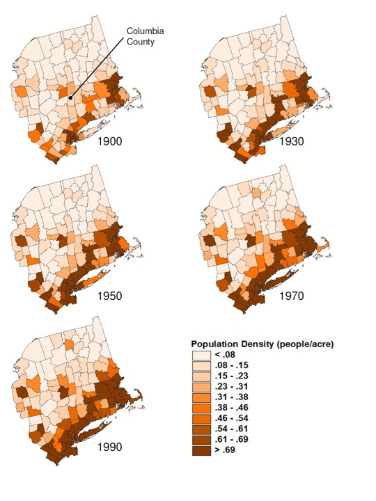 Population Density People Acre 1900 1990 For Counties In Northeast Us Maps