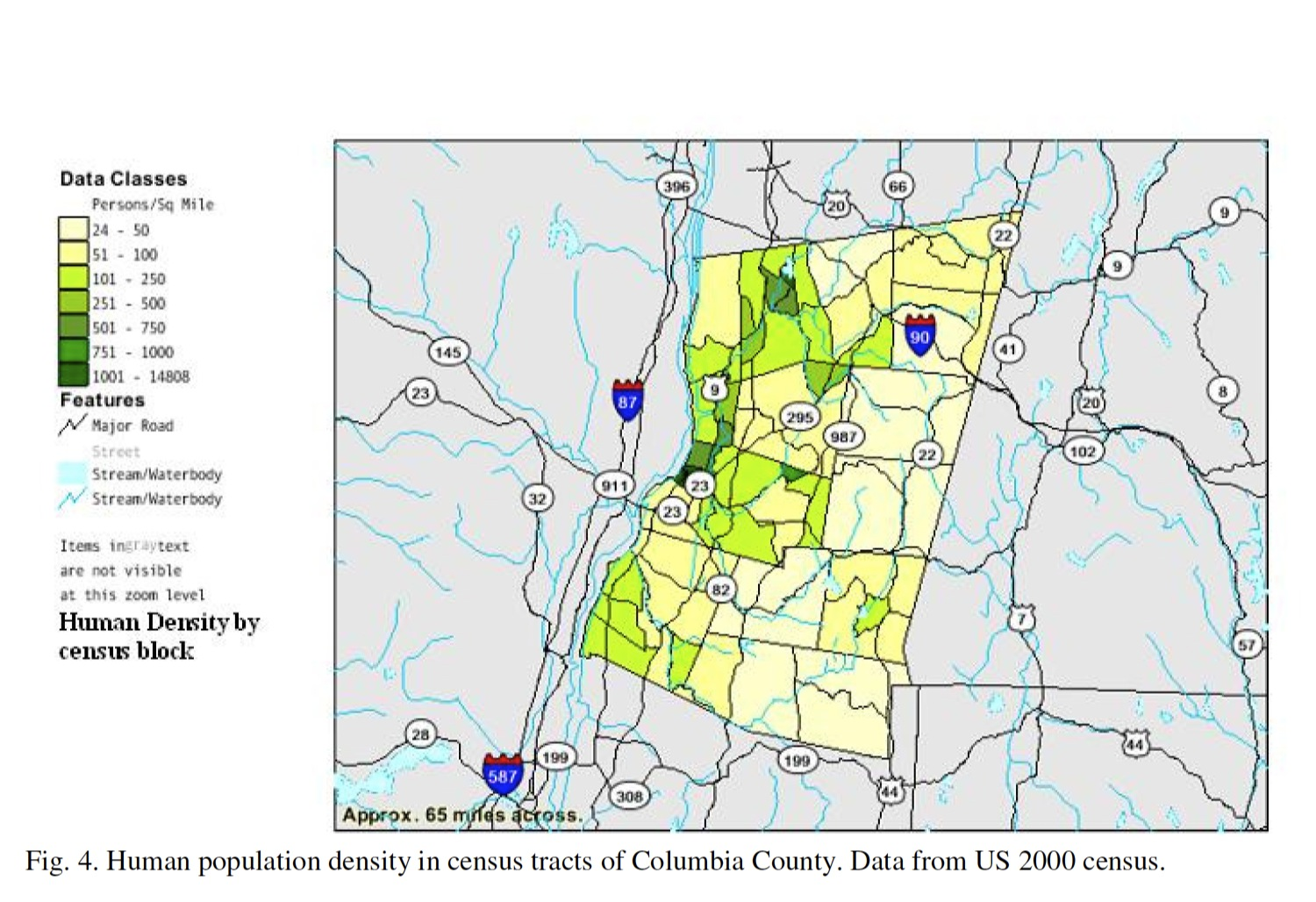 Human Population Density In Columbia County From 2000 Census Map Major Transportation