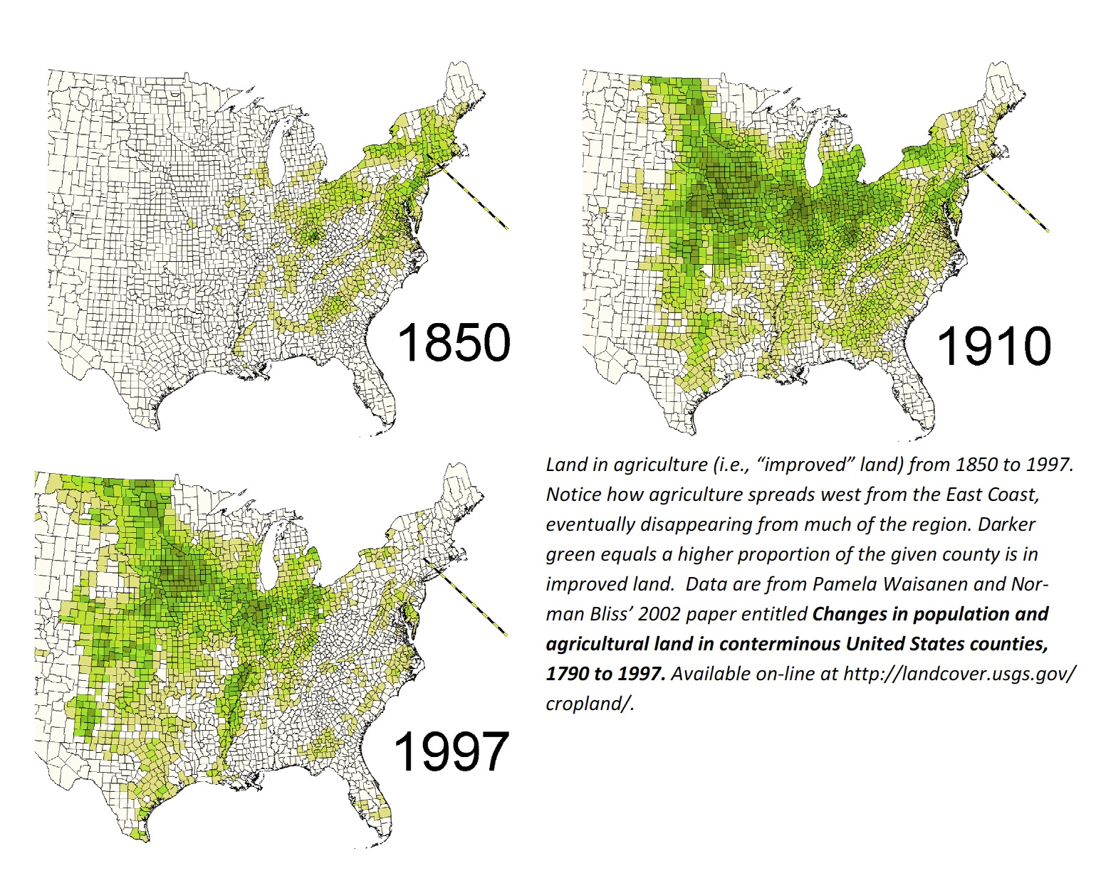 land in agriculture in eastern us 1850 1910 1997 map